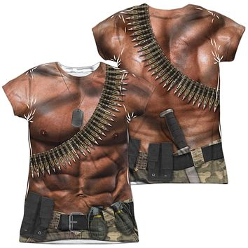 Six Pack Abs with Bullets Costume Juniors T-shirt Front & Back