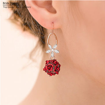 Red Rose Drop Earring