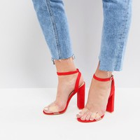 Public Desire Natasa Orange Block Heeled Sandals at asos.com