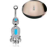 New Charming Dangle Crystal Navel Belly Ring Bling Barbell Button Ring Piercing Body Jewelry = 4804844740