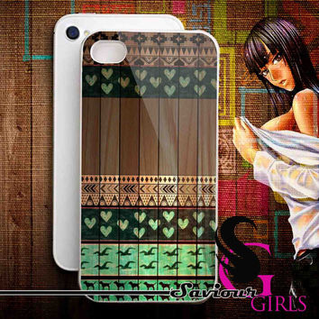 Love Aztec on Wood for iPhone 4/4S, 5/5S, 5C and Samsung Galaxy S3, S4 - Rubber and Plastic Case