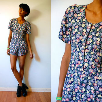 Vtg Floral Print Pearl Button Down Navy SS Romper