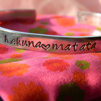 PRE-ORDER Hakuna Matata aluminum bracelet 1/4 inch wide Lion stamped on the inside