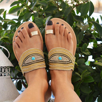 MATI Evil Eye Sandals, Greek Leather Sandals, Luxury Sandals, Gold Silver Sandals, Toe ring Sandals, Slide sandals, Embellished Sandals