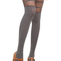 Deep Gray Lace Stripe Paneled  Hosiery Legging