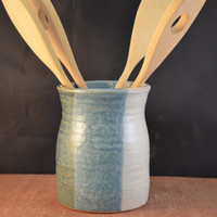 Handmade Ceramic Kitchen Utensil Jar or Canister with Tibetan Stamp - Antique Blue and Ivory White