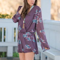 View From The Garden Romper, Lilac Gray