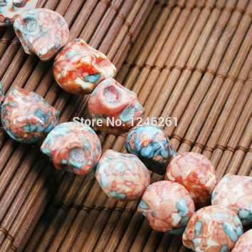 Hot Sale Multicolor Riverstones Rainbow Semi-precious Stones Skull For Women Girl 12mm Jasper Loose DIY Beads Jewelry Making