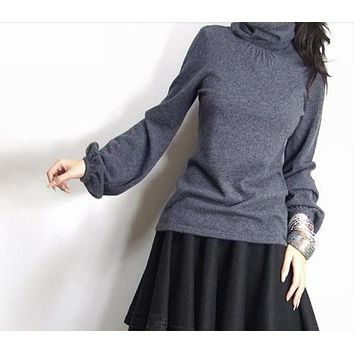 Women's heap turtleneck cashmere sweater women's sweater slim knitted sweater