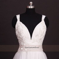 Long Wedding Dress Silver Embroidered V-neck and Open Back Ivory Wedding Gown