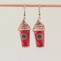 Starbucks Coffee Dangle Christmas Earrings by JegasCreations