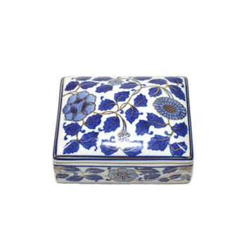 Vintage Blue and White Box Vintage Trinket Box Blue and White Ceramic Box Business Card Holder