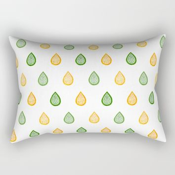 Yellow and green raindrops Rectangular Pillow by Savousepate