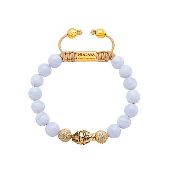 Women's Beaded Bracelet with Blue Lace Agate and Gold Buddha