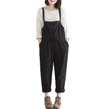 Plus Size Casual Black Cotton Linen Overalls Pants Women Students Slim Wide Leg Harem Rompers Pants Pantalones 2016 New Fashion