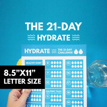 Water tracker, Hydrate Tracker 21 Day Printable, Hydrate Planner Printable, 21 Day Habit, Goal Planner, Healthy Habit, GetWellPlan