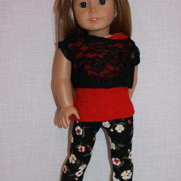 18 inch doll clothes, tank top, lace off the shoulder tee and floral print leggings, 18 inch doll clothes
