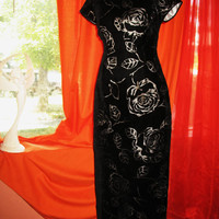 Amazing Robbie  Bee  Oriental Style Long Black Velvet Dress W Flowers Lined Size 10