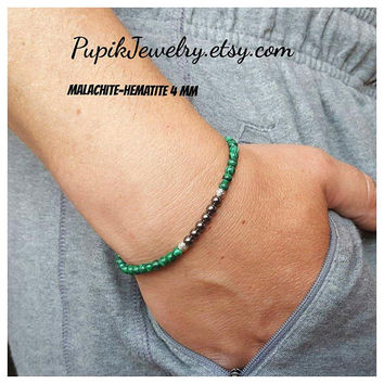 MALACHITE BRACELET Unisex Bracelet  Mens Bracelet Malachite 4 mm beaded Men's Beaded Bracelet Men's Jewelry Mens Beaded Bracelet Beaded 4 mm