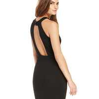 Halter Sleeveless Cut-Out Mesh Backless Bodycon Dress