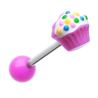 Sweet Cupcake Acrylic Barbell Tongue Ring