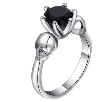 Black CZ Skull Ring