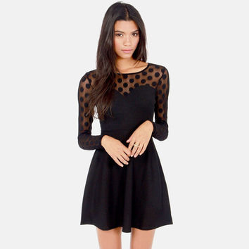 Polka Mesh Embroidered Long Sleeve Mini Skater Dress - Black