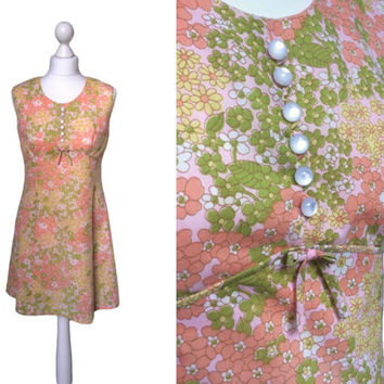 Daisy Print Dress - Vintage Mini Dress - 70's Dress - 1970's Dress - Sleeveless - Floral Dress - A Line Dress