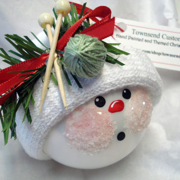 Knitting Snowman Christmas Tree Bulb Hand Painted Glass Snowball face Themed with knitting needles Personalized