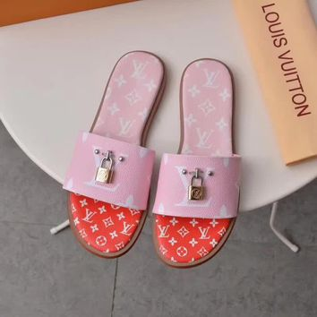 Louis Vuitton Lv Lock It Flat Mule Pink / Red Sandals - Best Online Sale