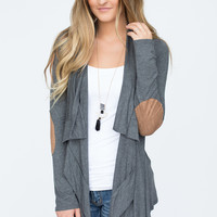 Elbow Patch Solid Cardigan - Charcoal - FINAL SALE