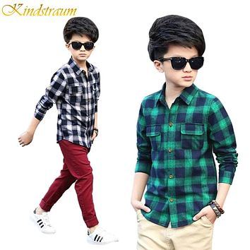 New Arrival Hot Kids Fashion Plaid Blouses Boys Cotton Shirts Long Sleeve Children Spring Autumn Clothes