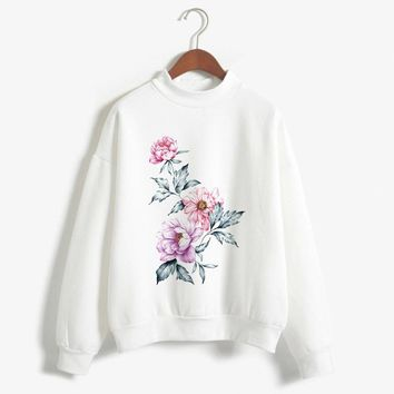 Creative Oil Painting Print Women Hoodies Sweatshirts Hoodies outwear Hip-Hop Female's Owl Lip Rose Cat Print Clothes