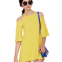 Yellow Shoulder Cut-Out  Half Sleeve A-Line Mini Dress