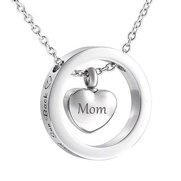 I Love You to the Moon and Sun Back Circle With Carved Mom & Dad Heart Urn Charm - Stainless Steel Keepsake Cremation Necklace