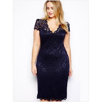 3XL women plus size hollow lace long-sleeved V-neck lace dress ready dinner