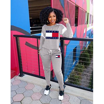 Tommy Hilfiger Women Casual Print Top Pants Trousers Set Two-Piece gray