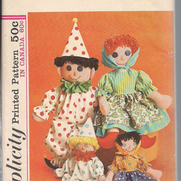 Vintage Simplicity 6257 Clown Doll, Peasant Rag Dolls, Two Sizes 15 inch and 24 inch, Softie Toy, Doll Pattern