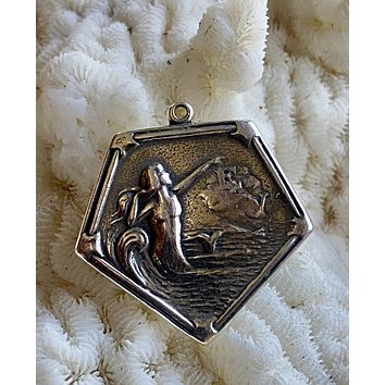 Art Nouveau sterling small medal Mermaid in the water, repro.