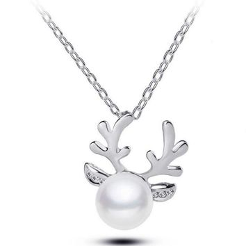 Plated Silver Antlers Simulated Pearl Crystal Necklace