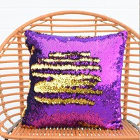 Orchid Purple & Dark Gold Sequin Mermaid Pillow | COVER ONLY (Inserts Sold Separately)