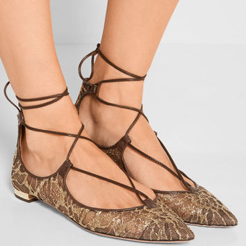 Aquazzura - Christy leather-trimmed embroidered mesh point-toe flats