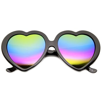 Women's Heart Shape Flash  Mirror Rainbow Lens Sunglasses 9492