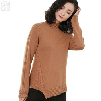 Women's Cropped Half Turtleneck 100% Pure Cashmere Pullover Famale Jumper New Sweaters Full Sleeve 2017 Fall Winter r1749