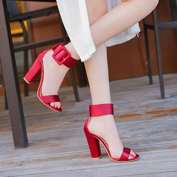 Woman Sandals Ankle Strap Buckle Ladies Pumps Women High Square Heels Party Shoes Peep Toe Gladiator Summer Sandals Big Size 43