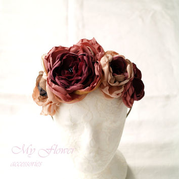 Dusty Rose Champagne Hair Crown, Burgundy Berry Red, Rose Gold Flower Crown, Floral Headdress, Girls Fascinator,Flower Wreath,Pink Headpiece