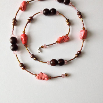 Long Brown and Pink Turquoise Necklace