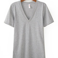 Short Sleeve V-Neck Casual T-Shirt