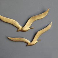 Modern Brass Birds Wall Hanging (Set of 2)
