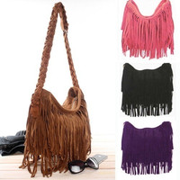 Women Lady Retro Tassel Fringe Shoulder Messenger Handbag = 1697291140
